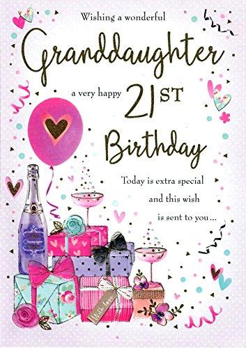 Traditionele mijlpaal leeftijd verjaardagskaart leeftijd 21 kleindochter - 10 x 7 inch - Piccadilly Greetings