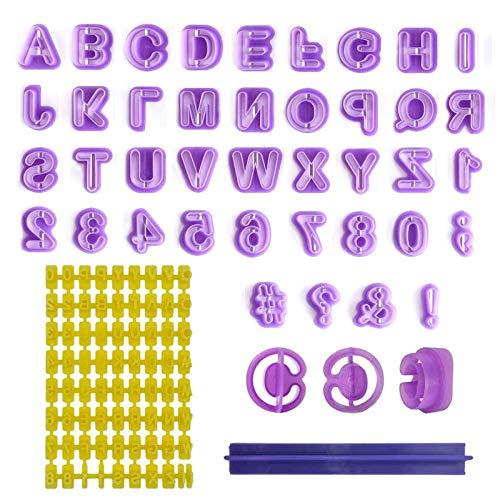 Ealicere 40 Stück Fondant Ausstecher Set und 1 Stück Keksstempel, Tortendeko Ausstechform Buchstaben, Zahlen und Satzzeichen - Geeignet für Anfänger und Profis