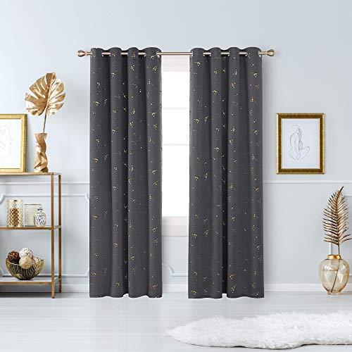 Deconovo Tende Oscuranti Termiche Isolanti per Finetre Moderne con Occhielli 140x245cm Grigio Scuro 2 Pannelli