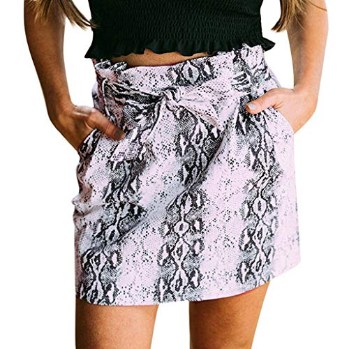 WFRAU Damen Leopardenmuster Bodycon Rock Retro Casual Gürteltasche Mit Knoten Mini Rock Badehosen Frauen Mode Elegant Minikleid Casual Strandrock Sommerrock Unterrock Kurzes Kleid