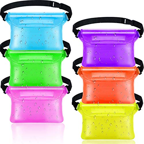 6 Pieces Waterproof Fanny Pack Pouch with Waist Strap Screen Touchable Dry Bag Water Resistant with Adjustable Belt Waterproof Phone Case Wallet (Purple, Green, Orange, Aqua Blue, Yellow, Rose Red)