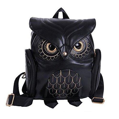 zhenghewyh Frauen Rucksäcke Lässige Reise Daypacks Mädchen-Eulen-Schule-Beutel Verstellbarer Riemen (schwarz)
