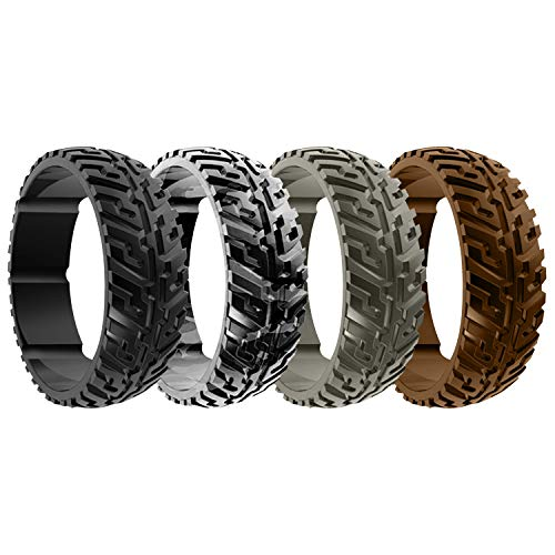 DSZ Silicone Wedding Ring for Men Sports Rubber Band for Heavy Duty - Unique Jeep Tire Tread Design with Groove for Extra Comfort (Black, Black CAMO, Stone, Khaki, 10)