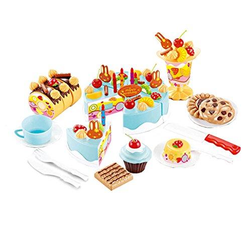 75 pièces de coupe de gâteau Pretend Play Set alimentaire pour les enfants, Bleu