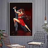 KWzEQ Leinwanddrucke Tango für Wohnzimmer dekorative Bilder und Poster Wandkunst60x90cmRahmenlose...
