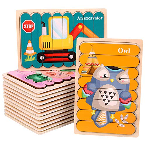 QqHAO Puzzles Infantiles Montessori Juguete Animal Coche Puzzles de Madera Educación temprana para niños Juguetes (16 Piezas)