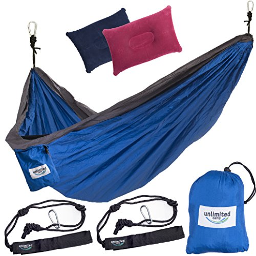 Double Camping Hammock by Unlimited Camp: 3 Seam Nylon Portable Lightweight Bedding for Camping, Hiking, Beach, or Yard plus Free Pillows, Ropes, and Special Straps, For Men and Women.