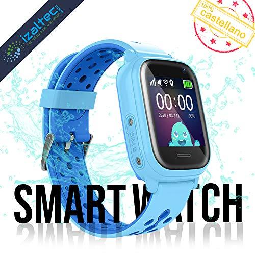 Smartwatch niños con localizador GPS+WiFi+AGPS+LBS Llamadas y cámara de Fotos. Reloj Inteligente acuático con IP67 para niños de 3 a 13 años (Azul)