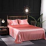 Sixyeliuzhi juego de cama de seda satinada de seda impresa en 3d, sábanas planas y ajustadas,14 pulgadas de profundidad,rosado,180x200cm + 35cm (4 piezas)