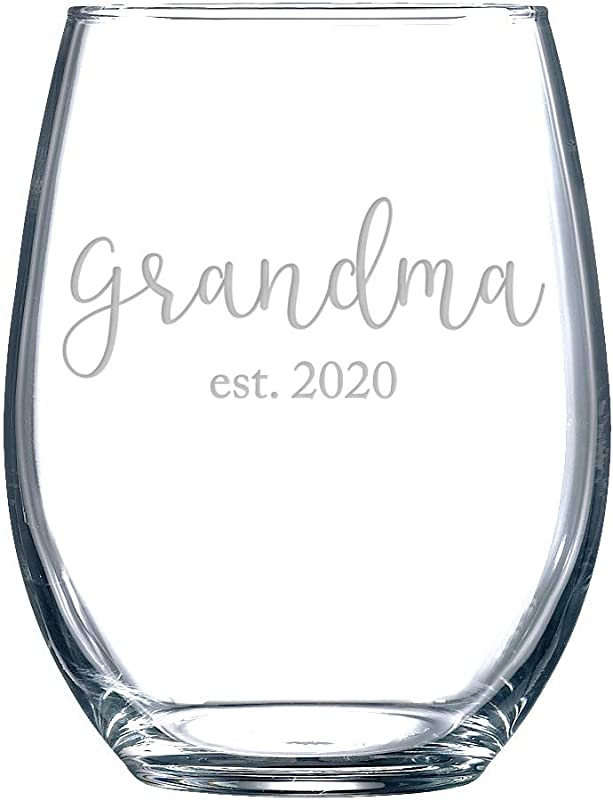 Gift For Grandma Est 2020 Stemless Wine Glass Funny Pregnancy Reveal