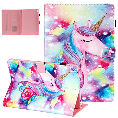 UGOcase iPad 10.2 Case 2019 iPad 7th Gen Case with Pen Holder, Folio Kickstand Smart Auto Sleep/Wake Card Slots PU Leather Shockproof Cover for Apple iPad 7th Generation 10.2' 2019, Painting Unicorn