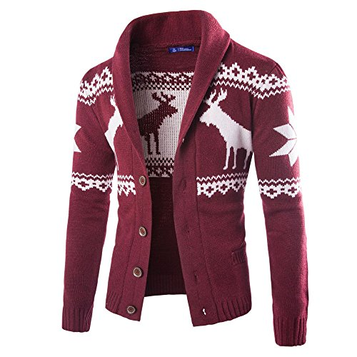 WUAI 2018, Mens Christmas Ugly Sweater Cardigan Winter Warm Knitwear Coat Jacket (Wine Red,US Size L = Tag XL)