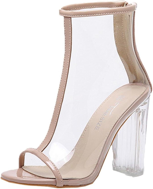 Fheaven Women's Sandals Summer Transparent Peep Toe Plastic Short Boots Zipper Sandals Pump