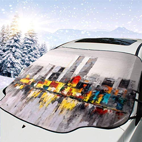 JONINOT Visera de sombrilla automática para Parabrisas Delantero Impermeable Pintura al óleo City View Nueva York Protector protección contra heladas Invierno vehículos