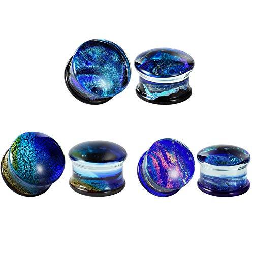 COOEAR Tapones y túneles de vidrio Perforación de láminas de color Ensanchadores de expansión de doble acampanado Par de joyas de regalo Tamaño 6mm a 16mm.
