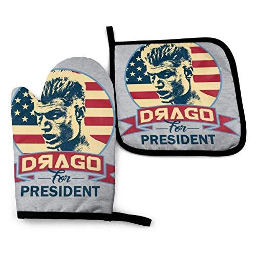 mjmhvfhtgdcgdcx Rocky Vi Drago für Präsident - Ofenhandschuhe und Topflappen, hitzebeständig, Küchenhandschuhe