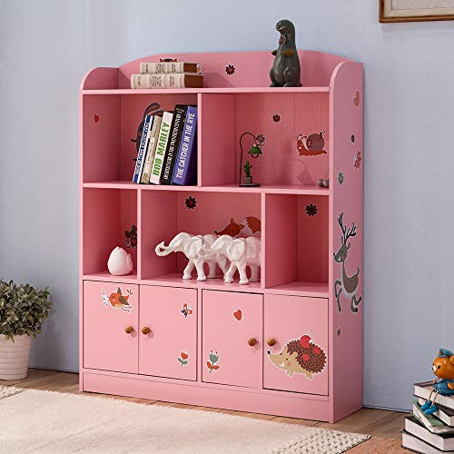 Emall Life Kids Large Bookcase with DIY Sticker Book and Toy Storage Organizer Bookshelf with 4 Layers and Doors for Girls Boys Bedroom (Pink)