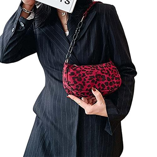 Wolfberrymetal Borsa a Tracolla, Borsa a Tracolla retrò con Stampa Leopardata Borsa a Tracolla per Il Tempo Libero da Donna Borsa a Tracolla alla Moda per Donna (Rossa)