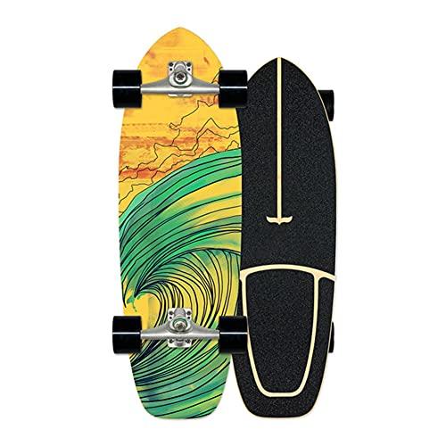 XKAI Skateboard Adulto Cruiser Completo Carver Slide Tabla Surfskate Monopatin con 7 Capas de Madera de Arce Longboard Deck para Adolescentes Principiantes Pro, Rodamientos ABEC-9, 75×23cm
