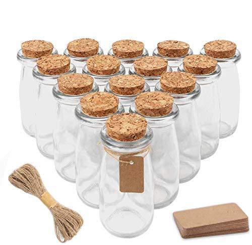 SUPERLELE 24pcs 3.4oz Glass Favor Jars, 100ml Small Glass Bottles with Cork Lids, Party Favors Wedding Favors with 30pcs Label Tags and 20m Burlap Ribbon