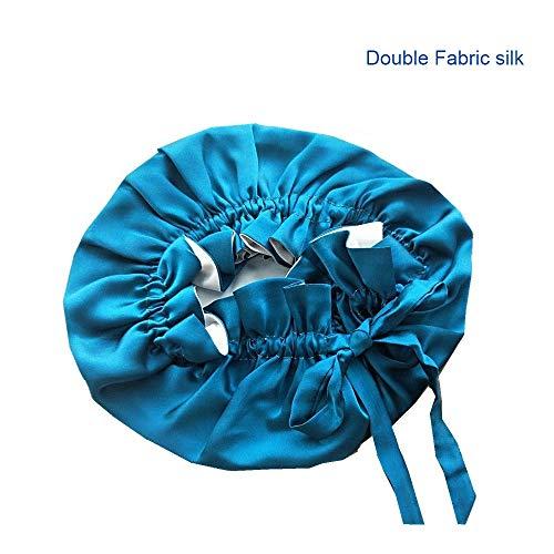 HOMDREAM Bonnet en Soie pour Cheveux Nuit Double Tissu en Soie Cheveux Wrap pour Dormir Perte Femmes Bouclés Cap Doux avec Ruban élastique Réglable,Dark-Blue