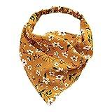 Harilla Moda mujer Bandana elástico suave Bohemia banda para el cabello estampado Headwear Head Wrap bufanda para el cabello accesorios para el cabello - Amarillo