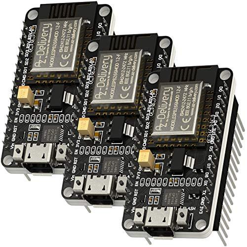 AZDelivery 3 pcs ESP8266 ESP-12F NodeMCU Amica V2, Modulo Wifi IoT con CP2102, Placa de Desarrollo compatible con Arduino con E-Book incluido!