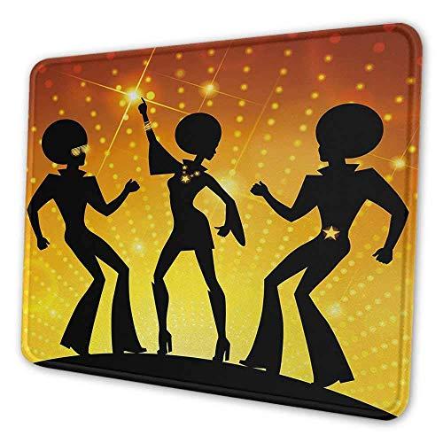 Alfombrilla de ratón personalizada para fiestas de los 70 personas bailando en la discoteca club nocturno con estilo de pelo afro Fondo bokeh adecuado para alfombrilla de ratón de oficina naranja amar