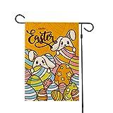 Amosfun Ostern Garten Flagge Sacwinzigen Glücklich Ostern Hof Flagge Cartoon Kaninchen Osterei Muster Vertikale Frühlingshaus Flagge ohne Fahnenstange für Ostern Party Dekor