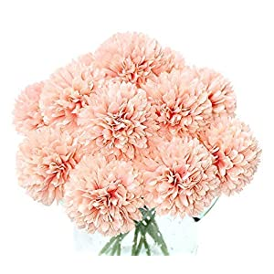 Louiesya Artificial Flowers, 10Pcs Fake Flowers Silk Artificial Chrysanthemum Ball Hydrangea Bridal Wedding Bouquet for Home Garden Party Wedding Decor (Grapefruit Pink)