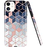 JAHOLAN iPhone 11 Case Shiny Gradient Cubes Design Clear Bumper TPU Soft Rubber Silicone Cover Phone Case for iPhone 11 6.1 inch 2019 - Rose Gold Blue