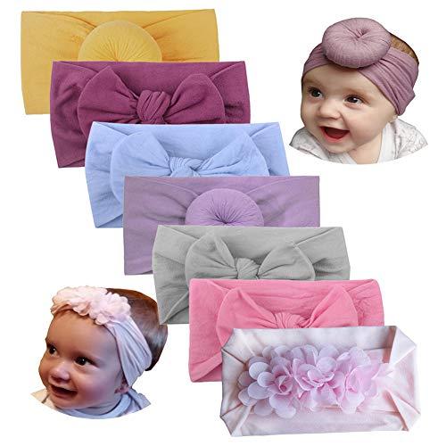 7pc Baby Girls Headbands Bows Elastic Nylon Knotted Floral Bun Infant Newborn Headbands Turban Hairbands Headwrap Hair Accessories Bow (7PC Set B)