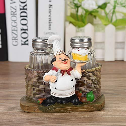 Fictory Chef Figurine-Leuke Chef Standbeeld Zout & Peper Fles Houder Ornamenten Home Decor Keukenhars Ambachten #A