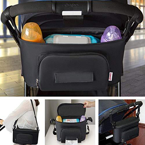 BangShou Bolsos Carro Bebé Bolsas Paseo Organizador Gran Capacidad Oxford Bolsas Organizador Carro Silla Paseo Negro