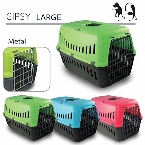 TRASPORTINO GIPSY 60 - Accessorio da viaggio,Trasportino cane - PORTA IN METALLO - Per cani e gatti (58x38x38)