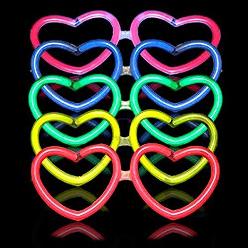 10 Gafas luminosas glow corazón + 10 Pulseras glow
