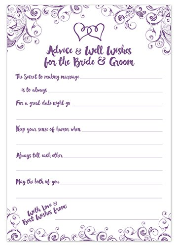 Purple Wedding Advice Cards - Advice & Well Wishes for the Bride & Groom - Prompted Fill In the Blank Style - Bridal Shower Game (50 Count)
