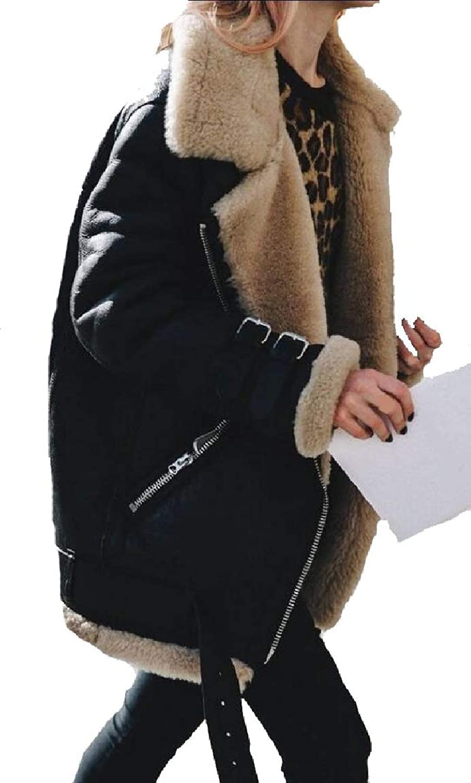 Qiangjinjiu Women Loose Faux Suede Fleece Jacket Coat Short Winter Warm Outwear