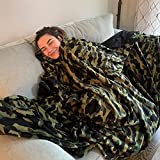 Big Blanket Co Original Stretch Green Camo | 10' x 10' Extra Large Throw Blanket | Soft, Cozy Outdoor Blanket for Summer and Giant Picnic Blanket | Machine Washable & Temperature Regulating