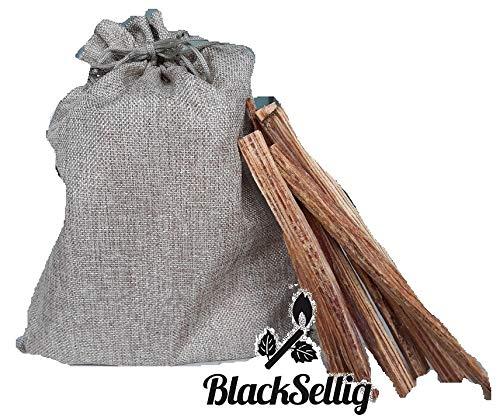 BlackSellig 1,5 Kg Grill- und Kaminanzünder Kienspäne im schönen Jutesäckchen - organisch und 100% natürlich - Brennen sehr schnell - nahezu unbegrenzt haltbar - frei von Chemikalien