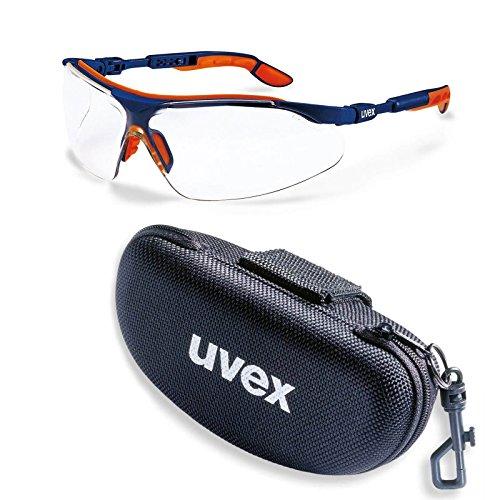 uvex Schutzbrille i-vo klar blau-orange kratzfest-beschlagfrei im Set inkl. Brillenetui, Sicherheitsbrille, Arbeitsschutzbrille