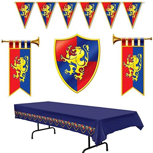 Múltiples decoraciones de fiesta medievales – Cartón Herald trompetas y Crest, pancarta de plástico y mantel (Paquete de 5)