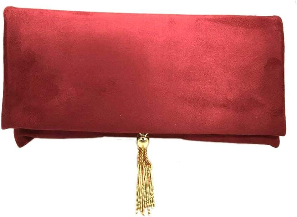 Tigerstars Gorgeous Red Tassel Suede Envelope Purse Clutch Bag