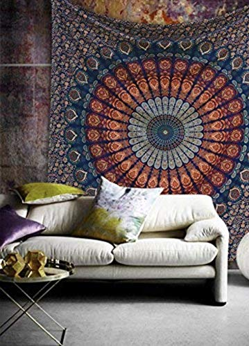 Multi-colored Mandala Tapestry Indian Wall Hanging, Bedsheet, Coverlet Picnic Beach Sheet, Superior Quality Hippie Wall Tapestry or Bedspread in Organic Cotton (Blue Golden, Single(220x140cms))