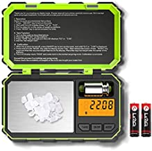 (2020 New) Digital Pocket Scale, 200g-0.01g Mini Scale, Highly Accurate Multifunction with Premium Stainless Steel Finish, LCD Backlit Display, 6 Units, Auto Off, Tare (Green,Battery Included)