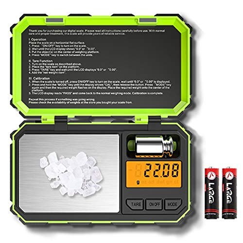 (Newest) Digital Pocket Scale, 200g Mini Scale, Highly Accurate Multifunction with Premium Stainless Steel Finish, LCD Backlit Display, 6 Units, Auto Off, Tare (Green,Battery Included)