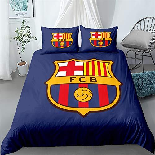 AINYD Lleva el Logo del Barcelona Football Club Muy Suave Transpirable Microfibra Juegos de Fundas para edredon, Funda nórdica con Cremallera(180x200cm), Respirable Almohada