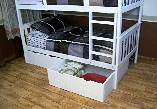 Best BUNK BEDS for Kids with Ladder & 2 Drawers| | Twin Over Twin Bunkbeds | USA Amish Made Quality | Sturdy & Long Lasting Bedroom Furniture for Children (White)