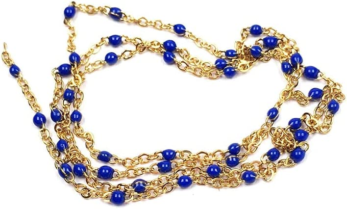 FC-68066 Handmade Max 48% OFF Plated Gold Wire St Chain Rosary Glass Excellent Wrapped