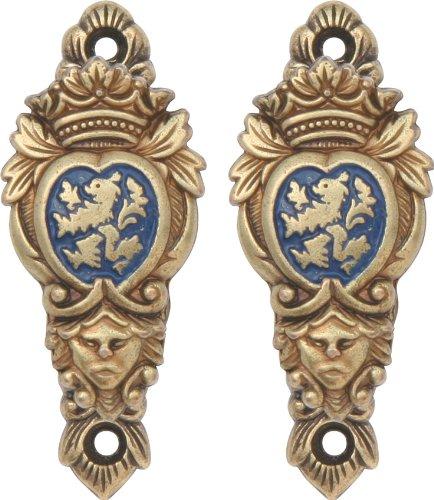 Denix Wandhalter Wappen blau Messing 2er-Set